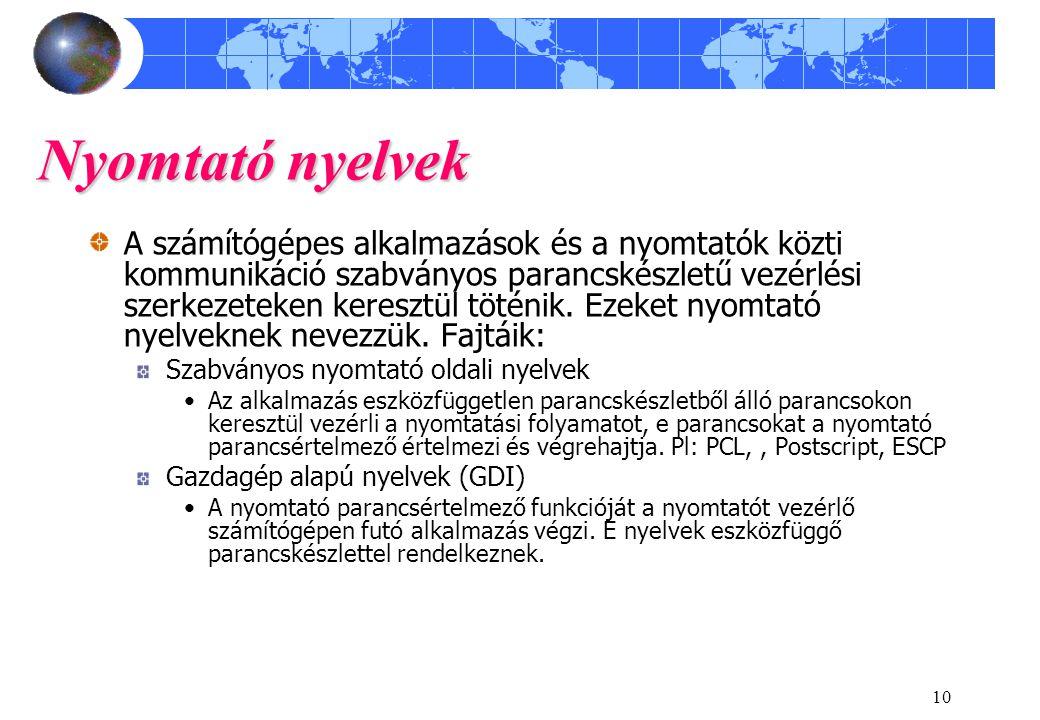 Nyomtató nyelvek