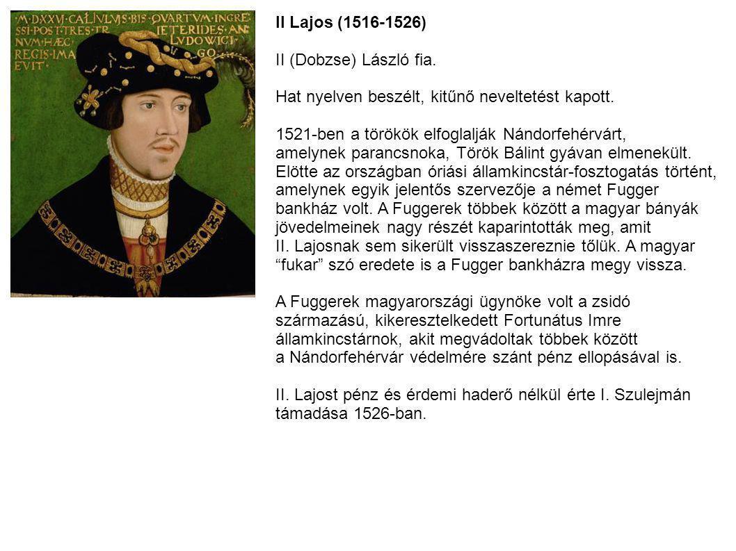 II Lajos (1516-1526) II (Dobzse) László fia. Hat nyelven beszélt, kitűnő neveltetést kapott. 1521-ben a törökök elfoglalják Nándorfehérvárt,