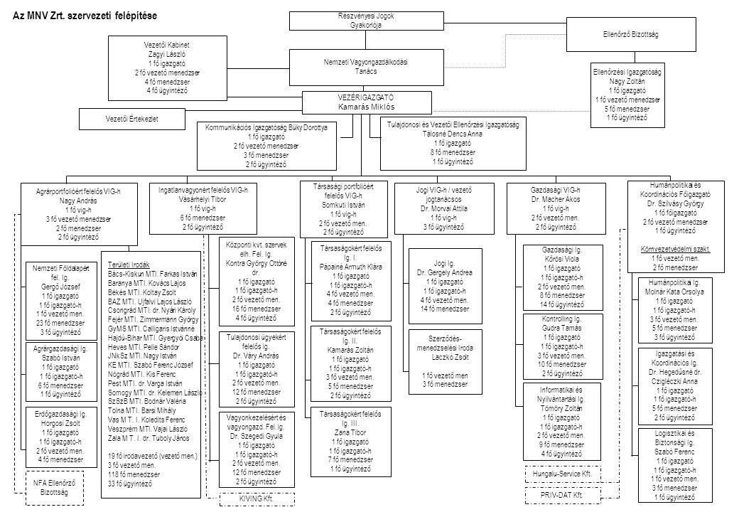 Az MNV Zrt. szervezeti felépítése