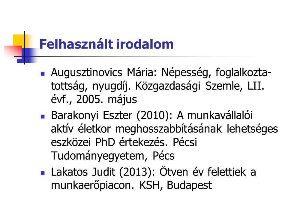Felhasznált irodalom Augusztinovics Mária: Népesség, foglalkozta-tottság, nyugdíj. Közgazdasági Szemle, LII. évf., 2005. május.