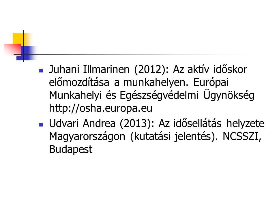 Juhani Illmarinen (2012): Az aktív időskor előmozdítása a munkahelyen
