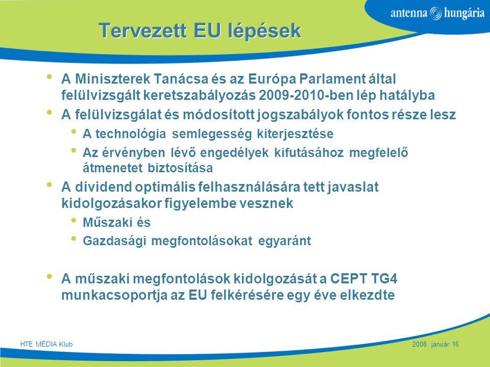 Tervezett EU lépések A Miniszterek Tanácsa és az Európa Parlament által felülvizsgált keretszabályozás 2009-2010-ben lép hatályba.