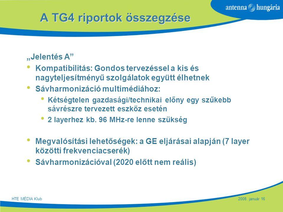 A TG4 riportok összegzése