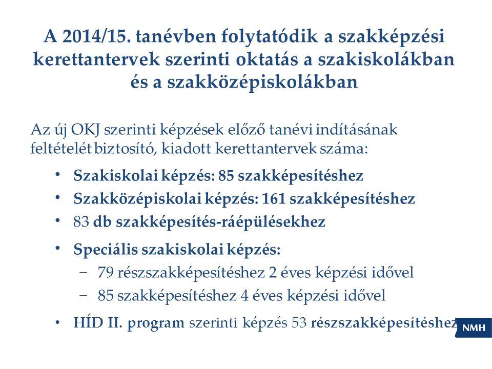 A 2014/15. tanévben folytatódik a szakképzési kerettantervek szerinti oktatás a szakiskolákban és a szakközépiskolákban