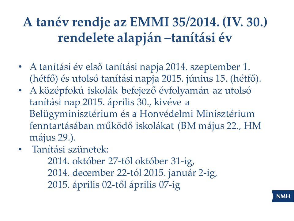 A tanév rendje az EMMI 35/2014. (IV. 30