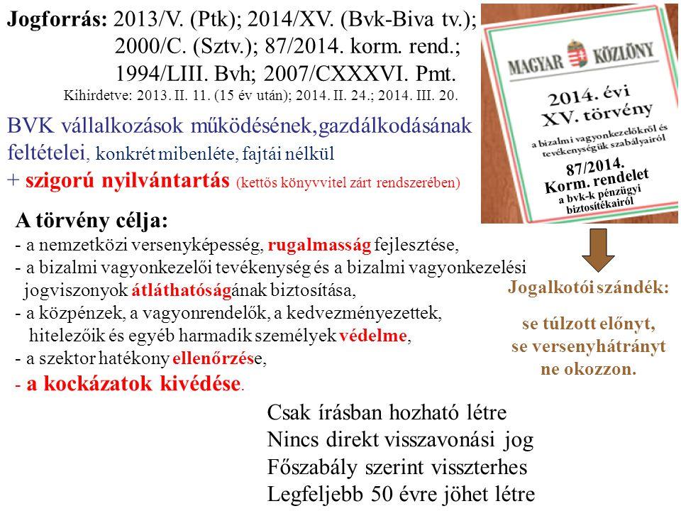Jogforrás: 2013/V. (Ptk); 2014/XV. (Bvk-Biva tv.);