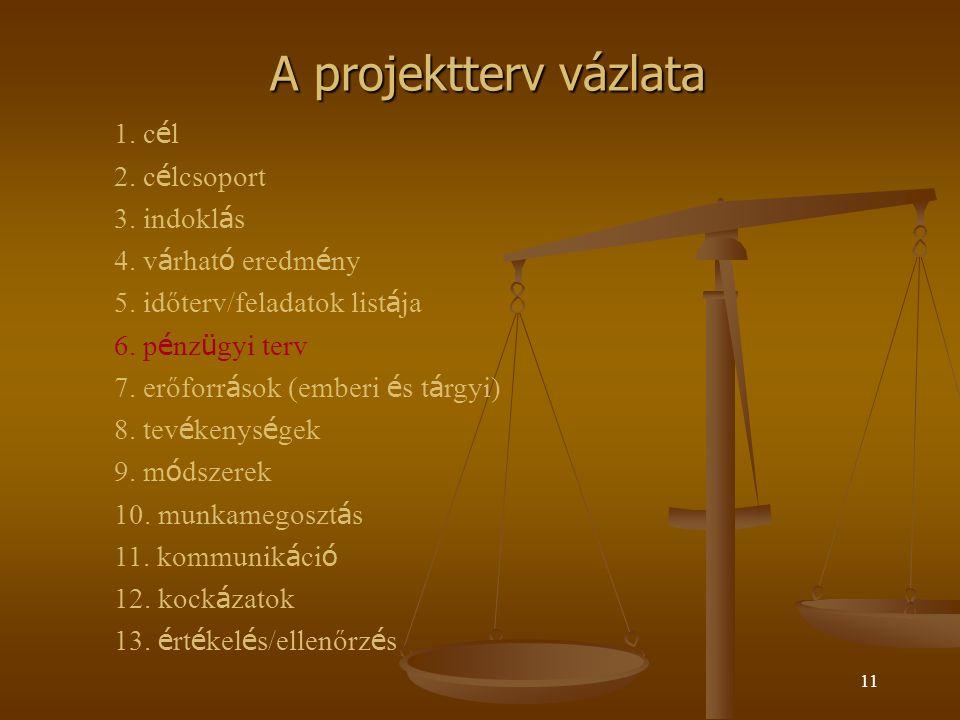 A projektterv vázlata 1. cél 2. célcsoport 3. indoklás