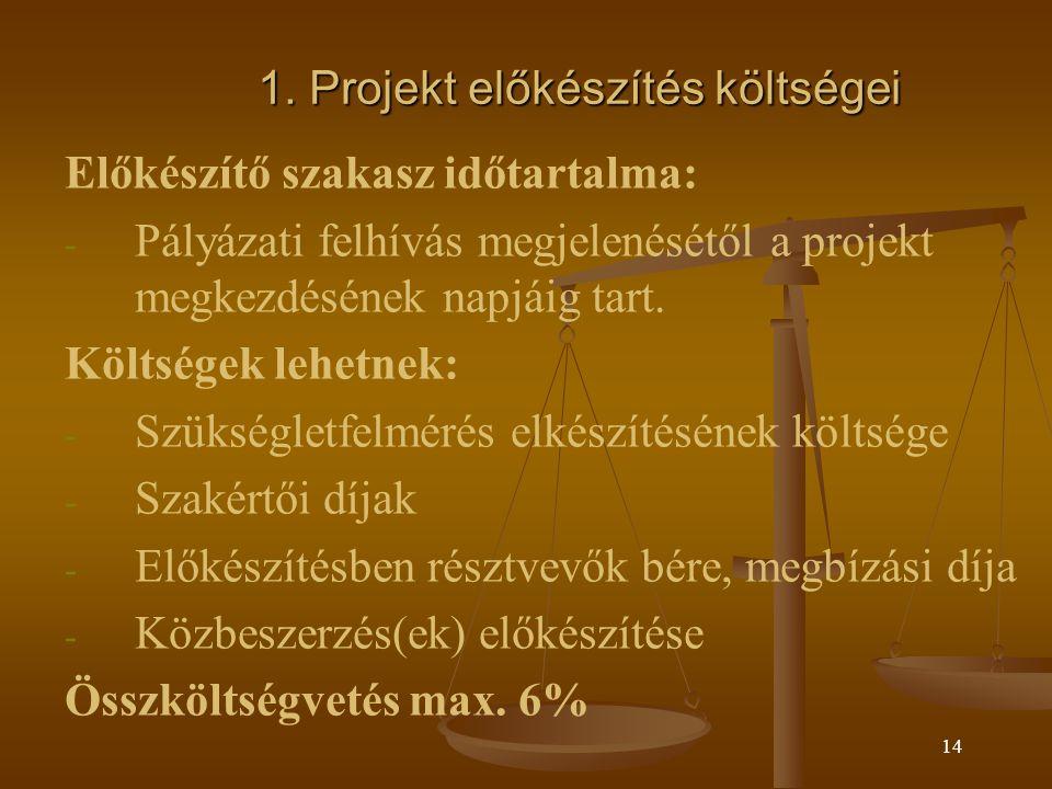 1. Projekt előkészítés költségei
