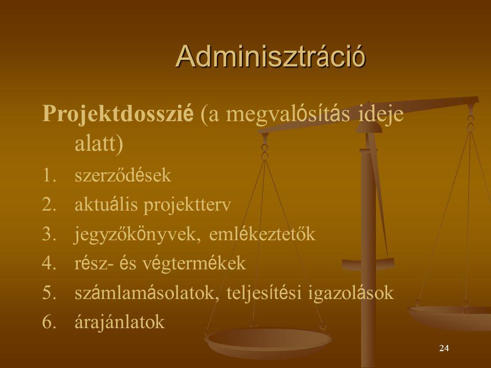 Adminisztráció Projektdosszié (a megvalósítás ideje alatt) szerződések
