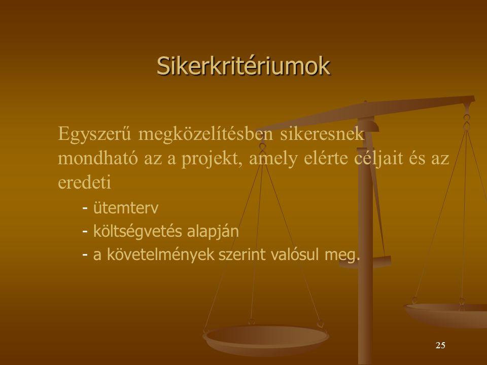 Sikerkritériumok Egyszerű megközelítésben sikeresnek mondható az a projekt, amely elérte céljait és az eredeti.