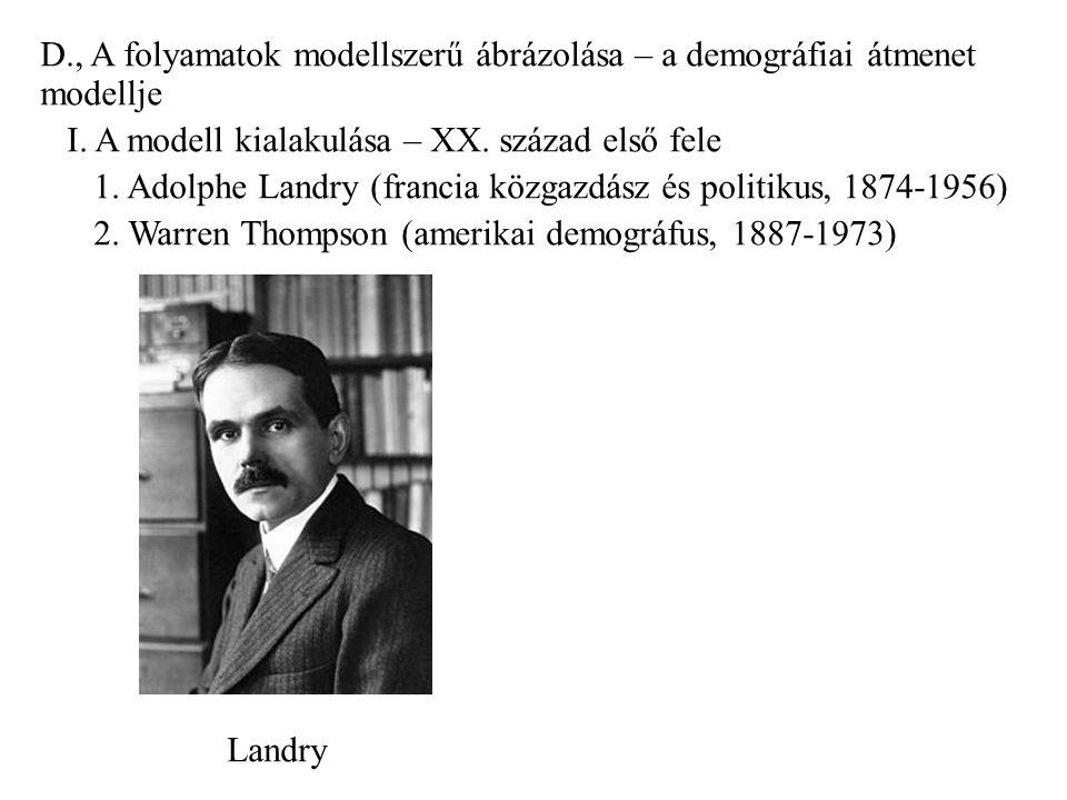 D., A folyamatok modellszerű ábrázolása – a demográfiai átmenet modellje I.
