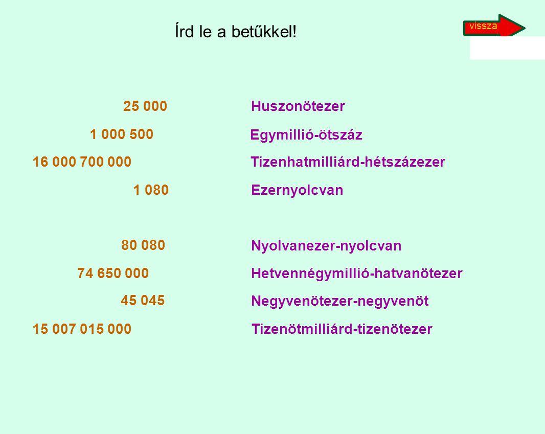 vissza Írd le a betűkkel! 25 000. 1 000 500. 16 000 700 000. 1 080. 80 080. 74 650 000. 45 045.