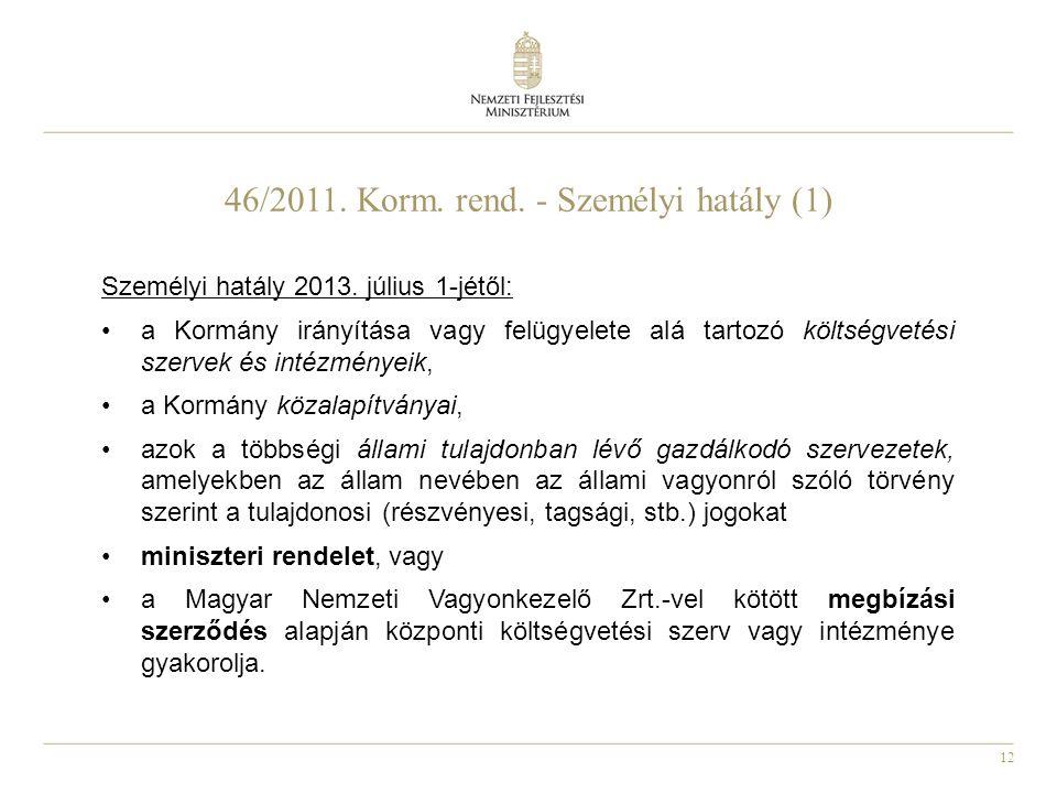 46/2011. Korm. rend. - Személyi hatály (1)