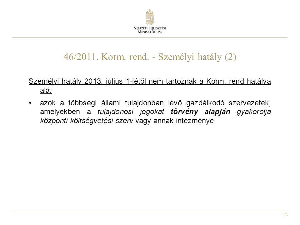 46/2011. Korm. rend. - Személyi hatály (2)