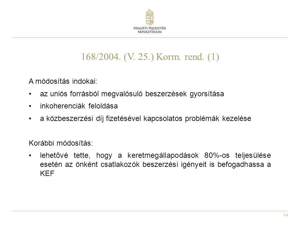 168/2004. (V. 25.) Korm. rend. (1) A módosítás indokai: