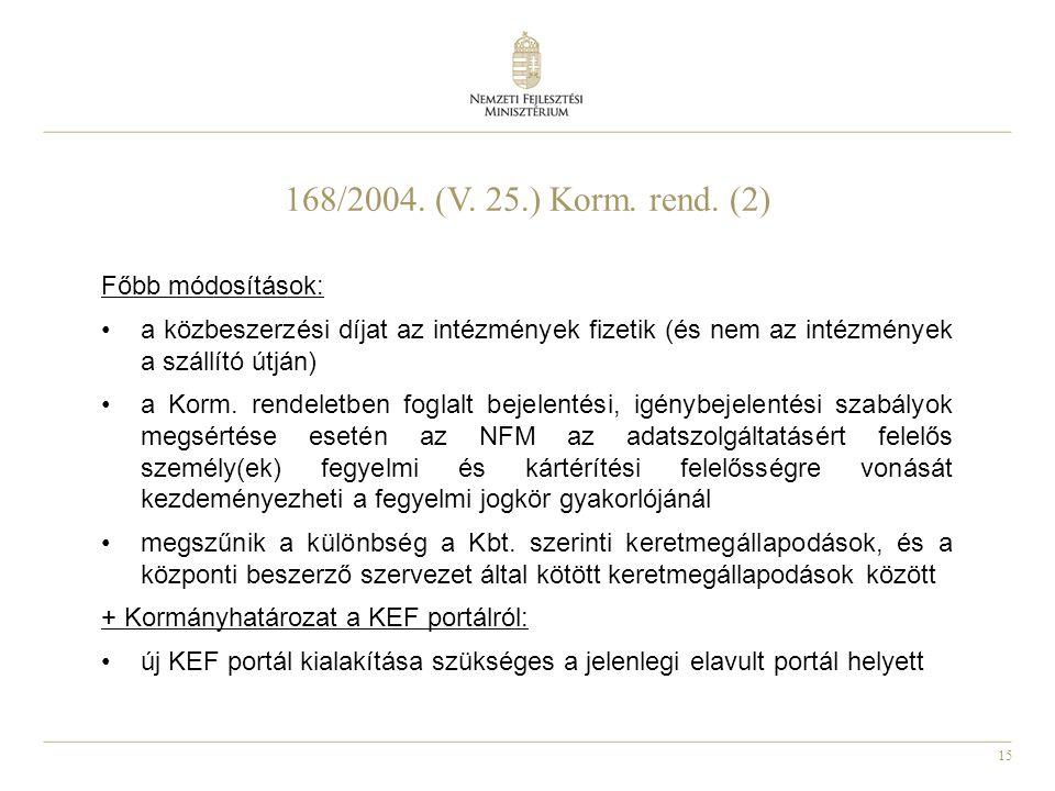 168/2004. (V. 25.) Korm. rend. (2) Főbb módosítások: