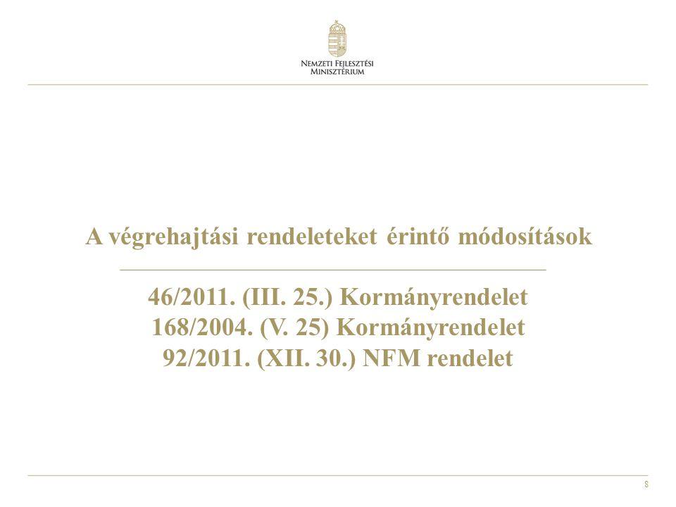 A végrehajtási rendeleteket érintő módosítások 46/2011. (III. 25