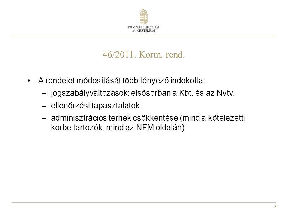 46/2011. Korm. rend. A rendelet módosítását több tényező indokolta: