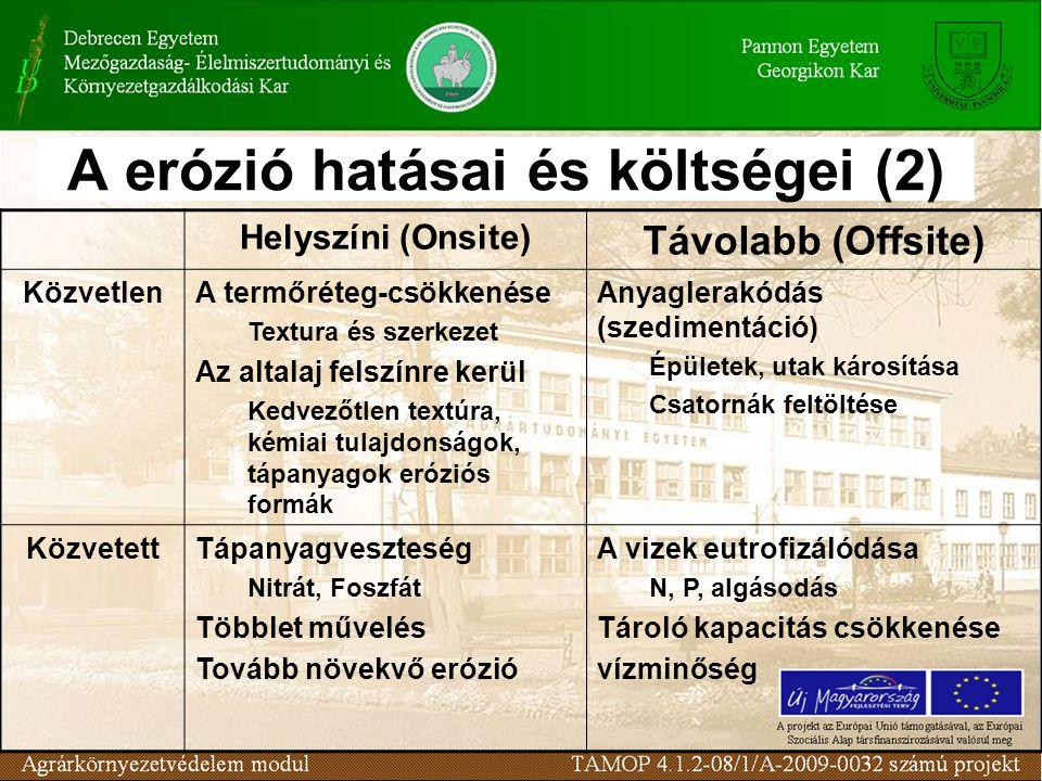 A erózió hatásai és költségei (2)