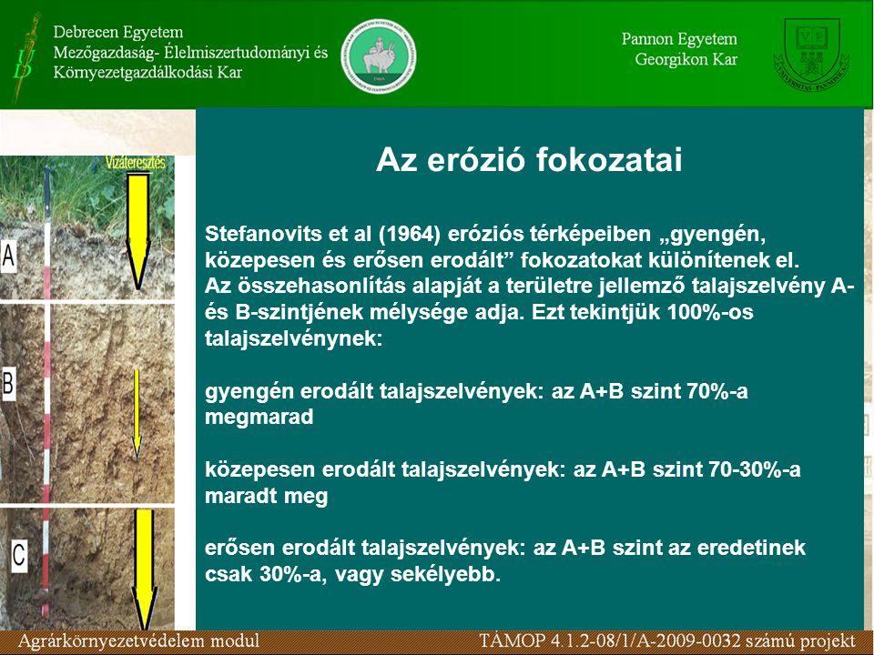 """Az erózió fokozatai Stefanovits et al (1964) eróziós térképeiben """"gyengén, közepesen és erősen erodált fokozatokat különítenek el."""