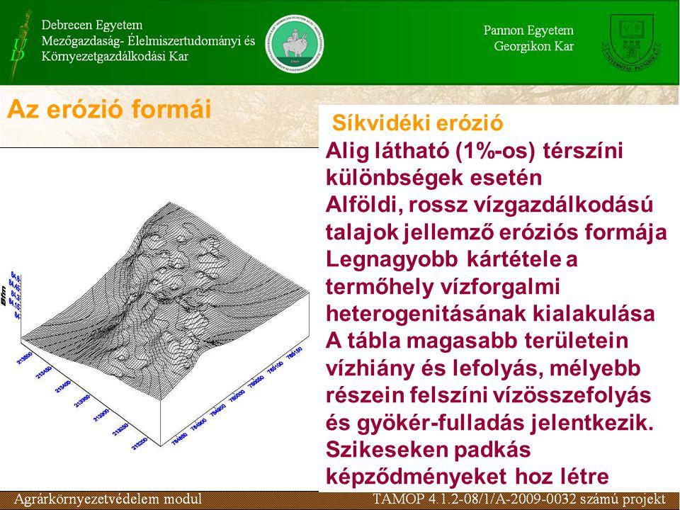 Az erózió formái Síkvidéki erózió