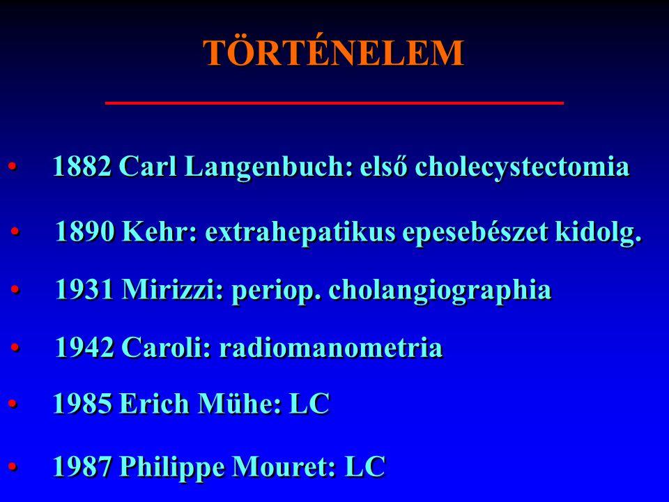 TÖRTÉNELEM 1882 Carl Langenbuch: első cholecystectomia