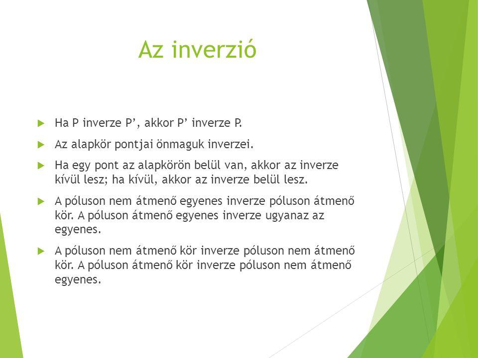 Az inverzió Ha P inverze P', akkor P' inverze P.