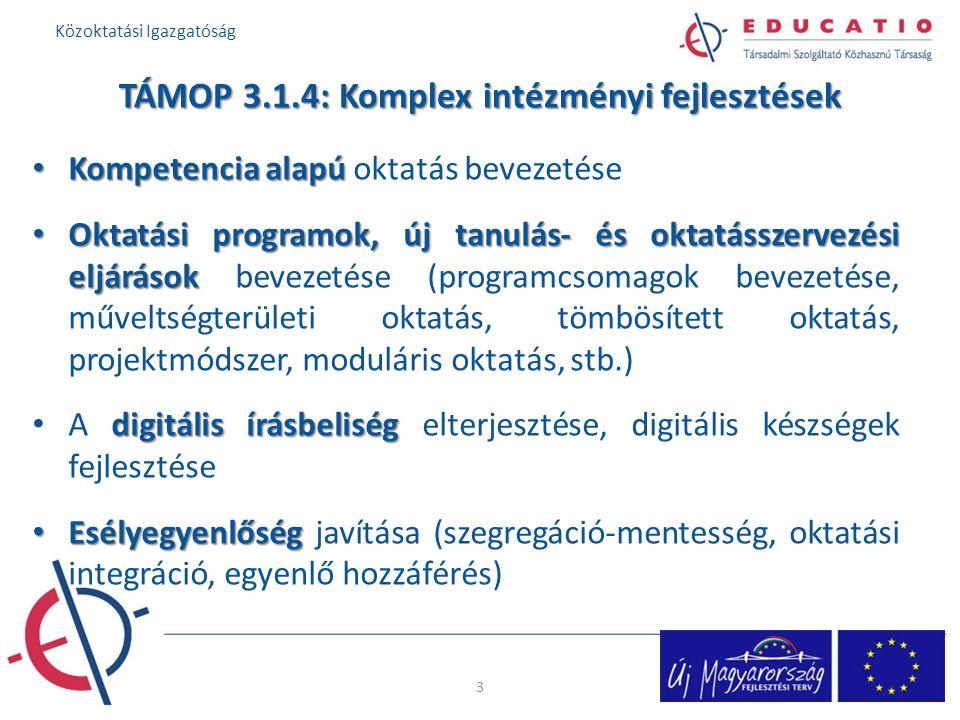 TÁMOP 3.1.4: Komplex intézményi fejlesztések