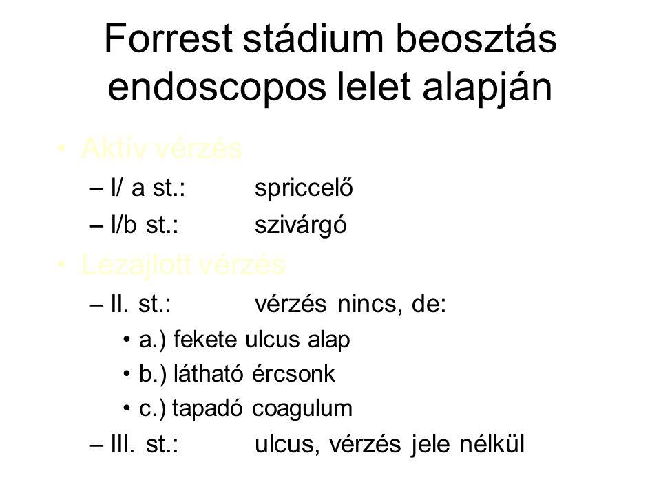 Forrest stádium beosztás endoscopos lelet alapján