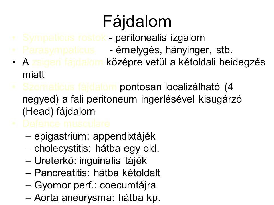 Fájdalom Sympaticus rostok - peritonealis izgalom