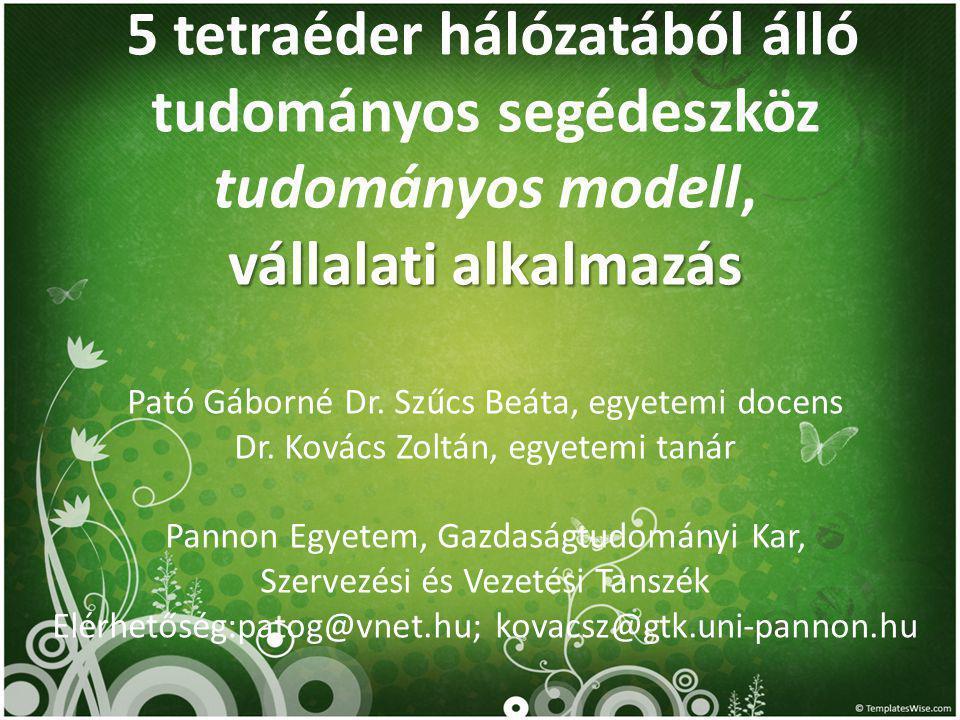 5 tetraéder hálózatából álló tudományos segédeszköz tudományos modell, vállalati alkalmazás Pató Gáborné Dr.