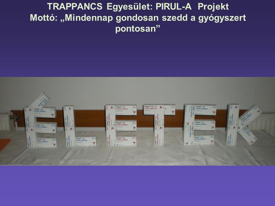 """TRAPPANCS Egyesület: PIRUL-A Projekt Mottó: """"Mindennap gondosan szedd a gyógyszert pontosan"""