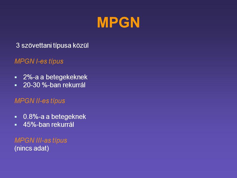 MPGN 3 szövettani típusa közül MPGN I-es típus 2%-a a betegekeknek
