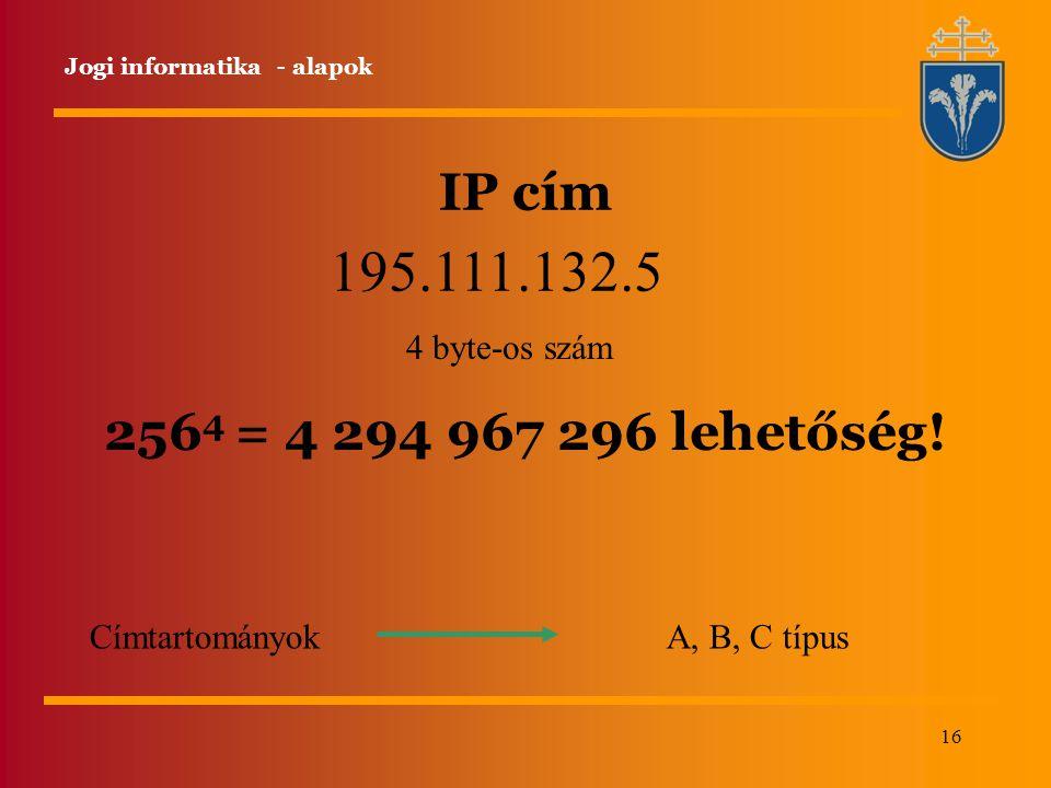 195.111.132.5 IP cím 2564 = 4 294 967 296 lehetőség! 4 byte-os szám