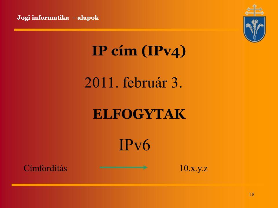 IPv6 2011. február 3. IP cím (IPv4) ELFOGYTAK Címfordítás 10.x.y.z