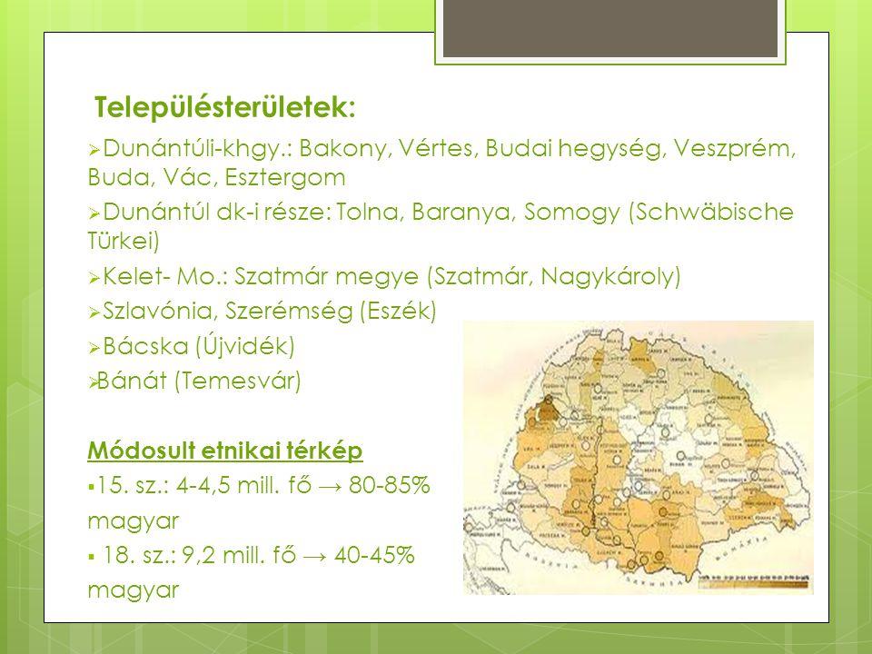 Településterületek: Dunántúli-khgy.: Bakony, Vértes, Budai hegység, Veszprém, Buda, Vác, Esztergom.