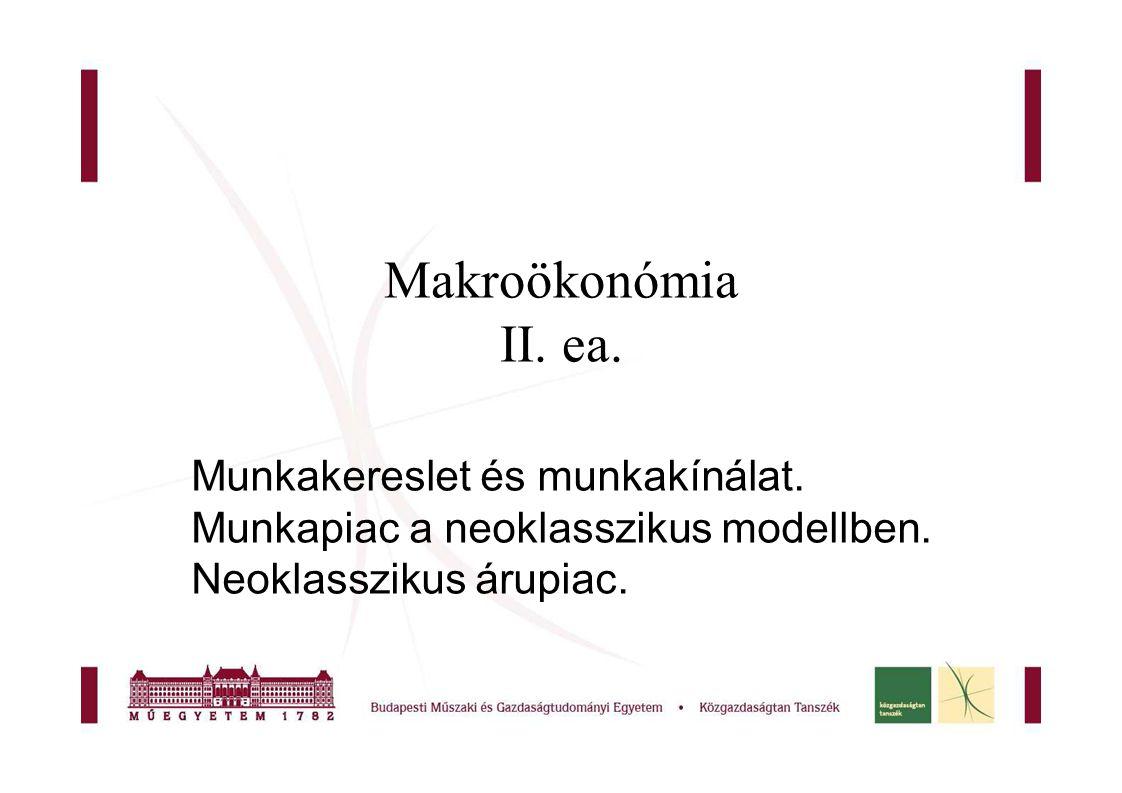 Makroökonómia II. ea. Munkakereslet és munkakínálat.