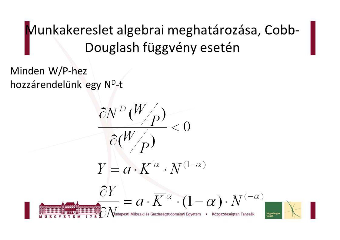 Munkakereslet algebrai meghatározása, Cobb-Douglash függvény esetén