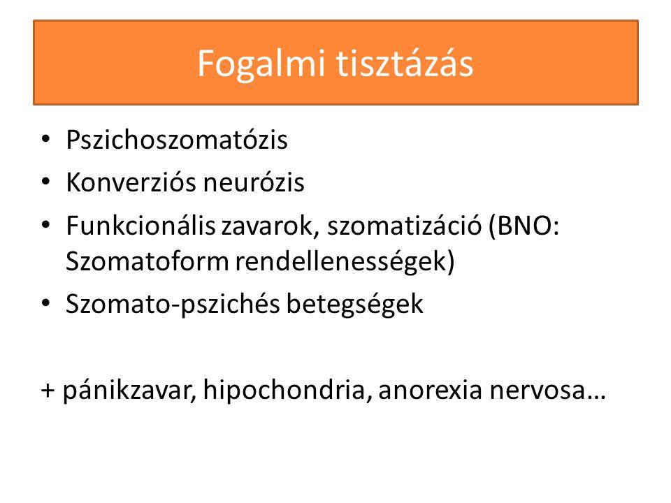 Fogalmi tisztázás Pszichoszomatózis Konverziós neurózis