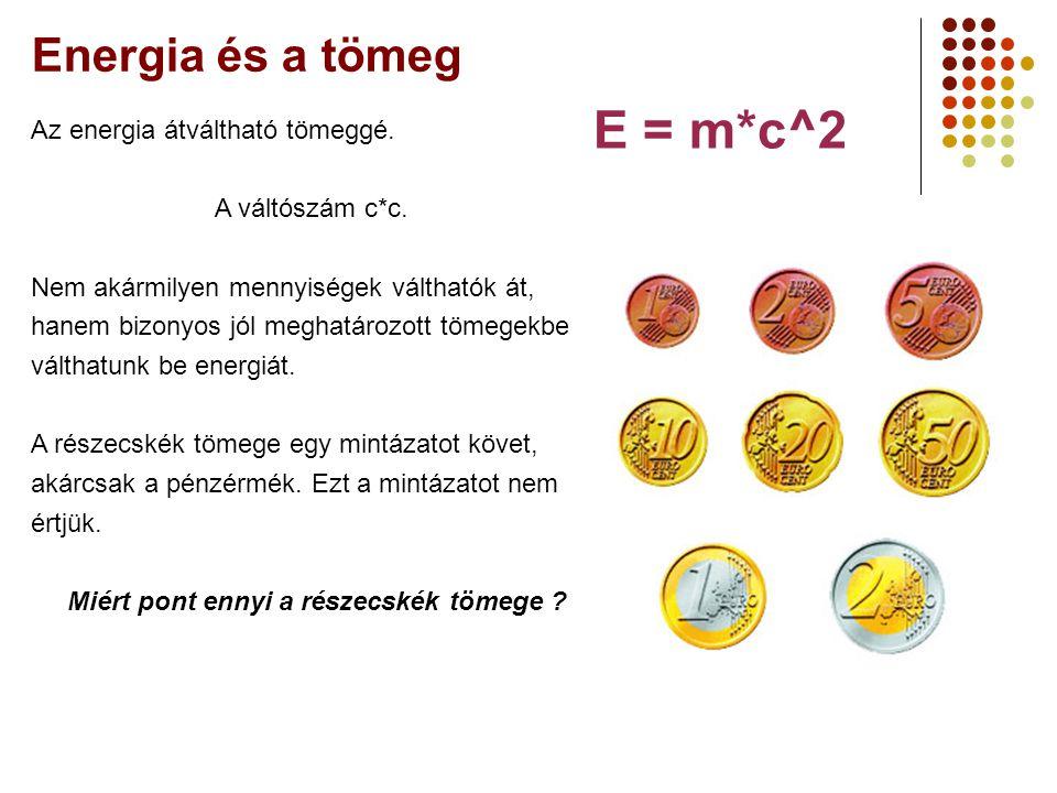 E = m*c^2 Energia és a tömeg Az energia átváltható tömeggé.