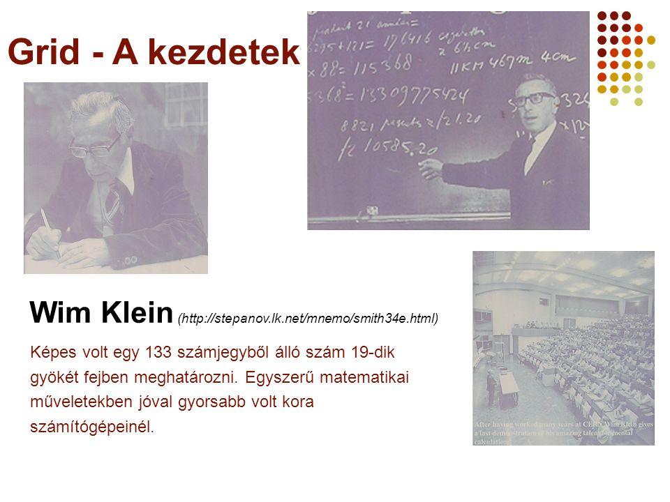 A Webt-ől a Grid-ig 2006 augusztus 25. Grid - A kezdetek. Wim Klein (http://stepanov.lk.net/mnemo/smith34e.html)
