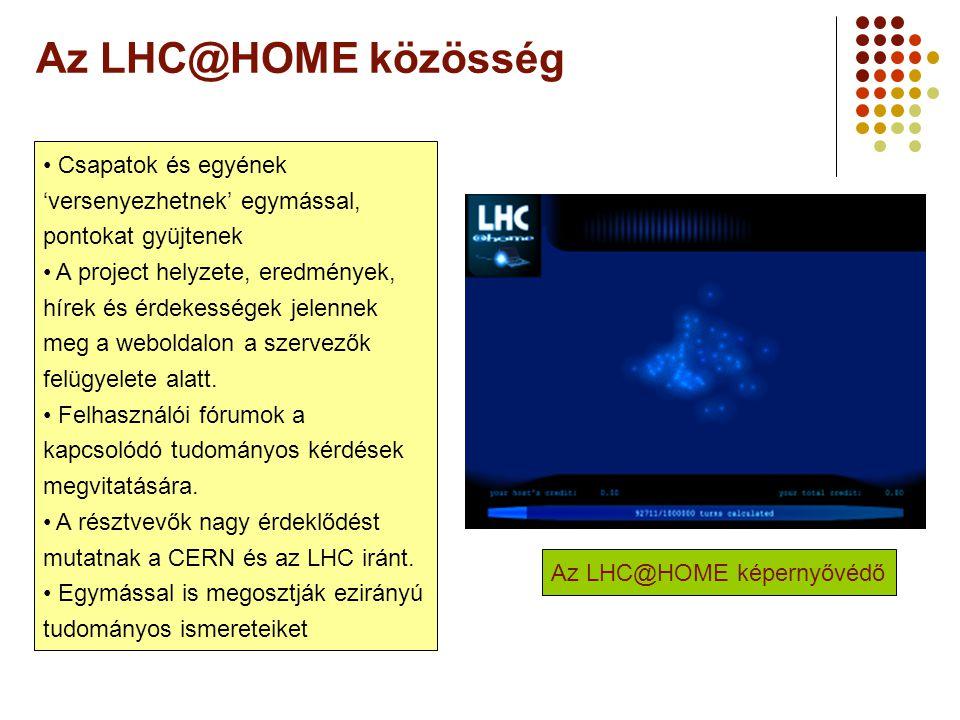 A Webt-ől a Grid-ig 2006 augusztus 25. Az LHC@HOME közösség. Csapatok és egyének 'versenyezhetnek' egymással, pontokat gyüjtenek.