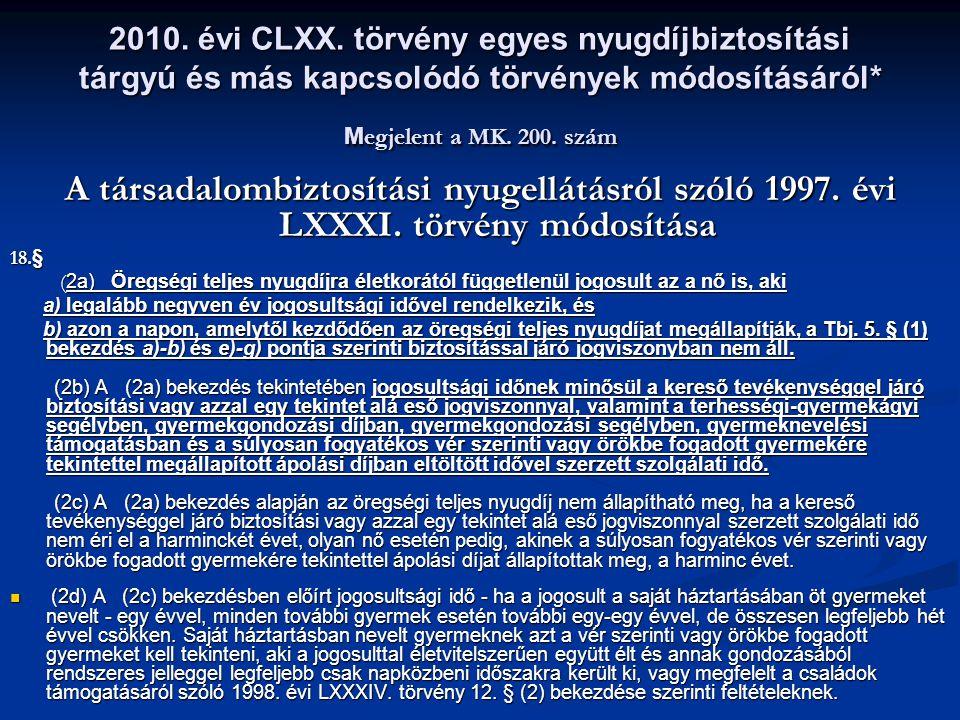 2010. évi CLXX. törvény egyes nyugdíjbiztosítási tárgyú és más kapcsolódó törvények módosításáról* Megjelent a MK. 200. szám
