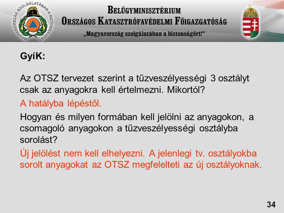 GyíK: Az OTSZ tervezet szerint a tűzveszélyességi 3 osztályt csak az anyagokra kell értelmezni. Mikortól