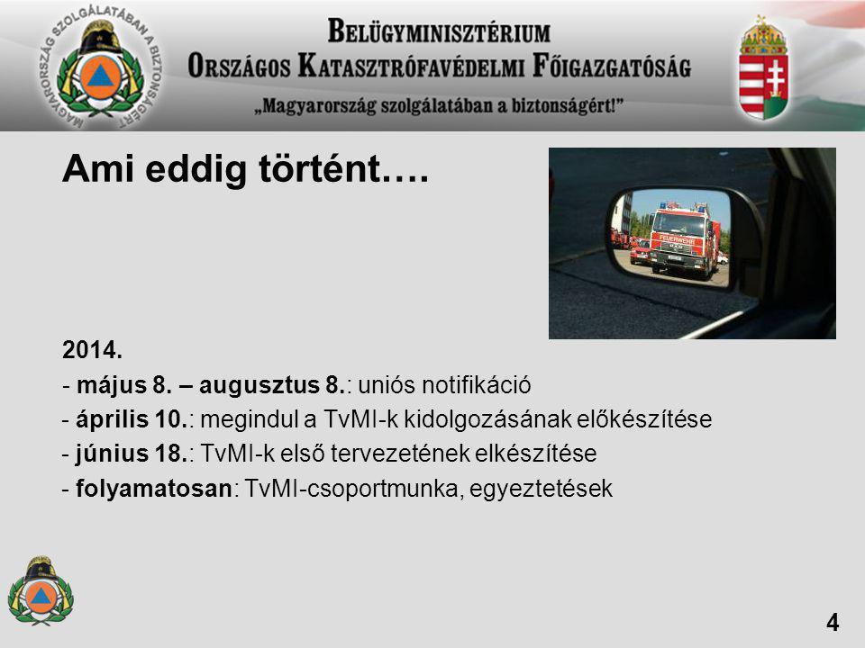 Ami eddig történt…. 2014. - május 8. – augusztus 8.: uniós notifikáció