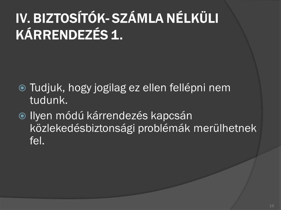 IV. BIZTOSÍTÓK- SZÁMLA NÉLKÜLI KÁRRENDEZÉS 1.