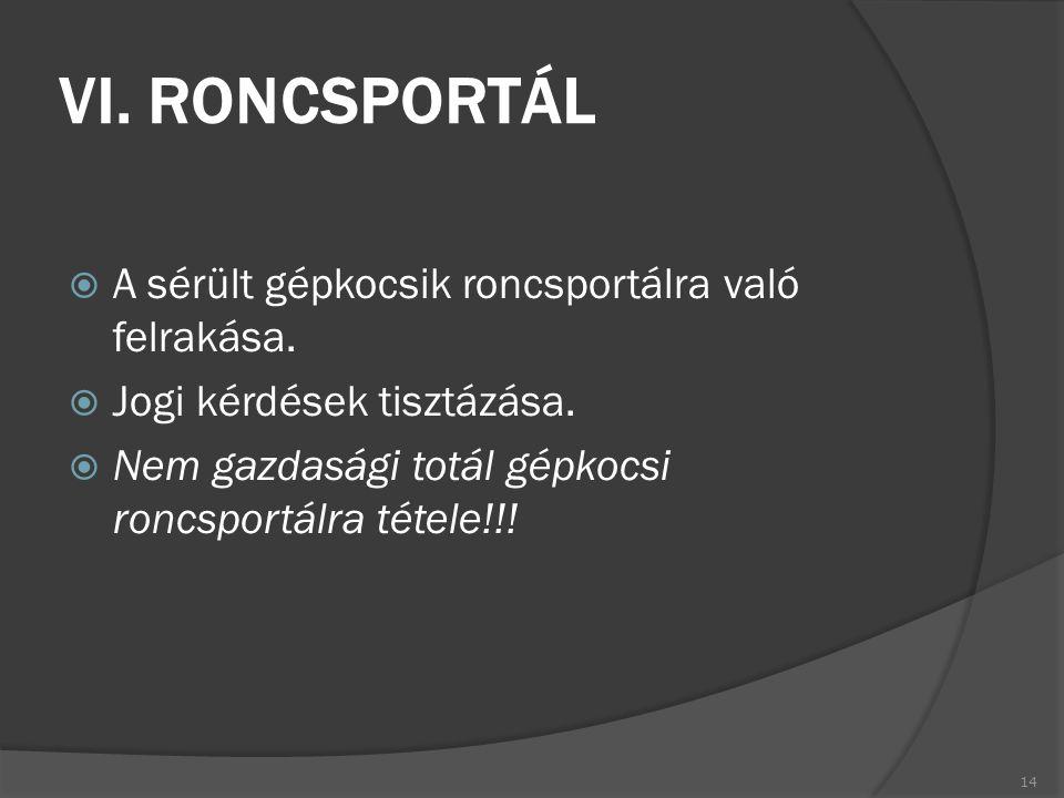 VI. RONCSPORTÁL A sérült gépkocsik roncsportálra való felrakása.