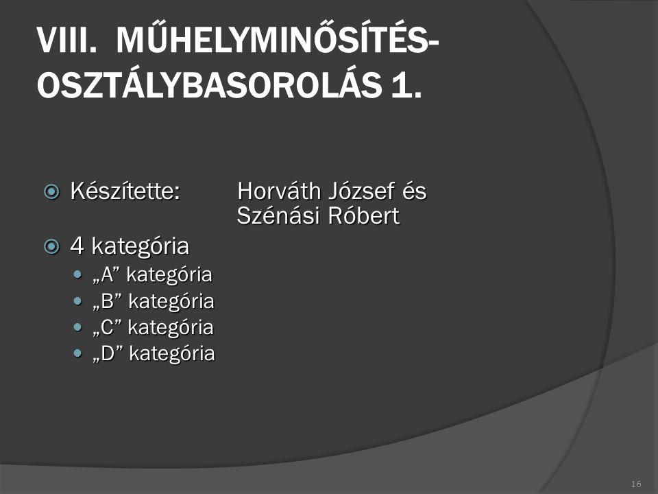 VIII. MŰHELYMINŐSÍTÉS- OSZTÁLYBASOROLÁS 1.