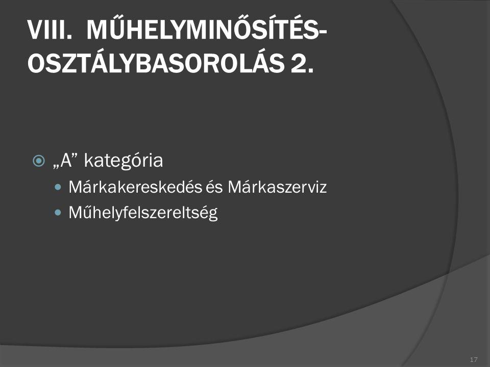 VIII. MŰHELYMINŐSÍTÉS- OSZTÁLYBASOROLÁS 2.
