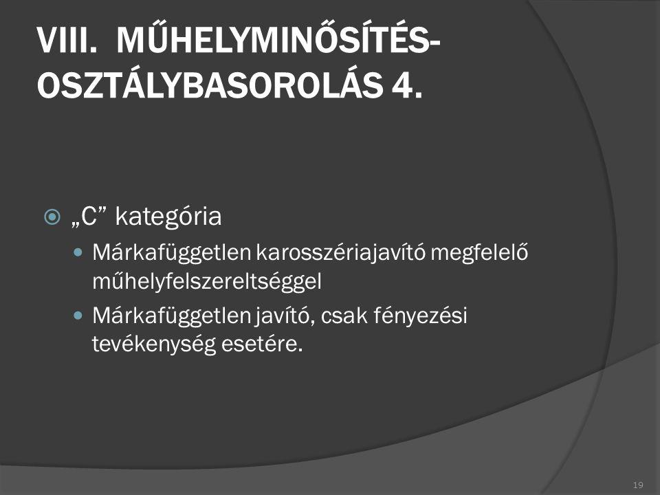 VIII. MŰHELYMINŐSÍTÉS- OSZTÁLYBASOROLÁS 4.